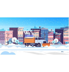 snow plow truck cleaning urban snowy road winter vector image
