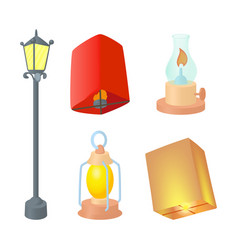 street lamp icon set cartoon style vector image