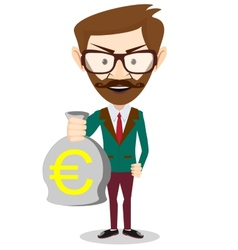 Successful Businessman or banker with a Bag of vector image