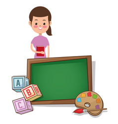 teacher woman back to school with board palette vector image