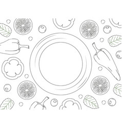 Template for your design empty plate on white vector