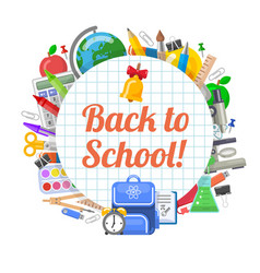 Time to back to school objects round banner vector