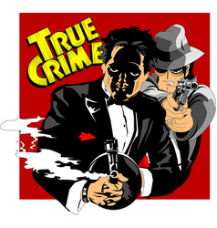 two armed criminals vector image