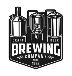 Vintage monochrome craft brewery emblem vector