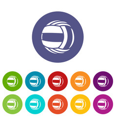 Volleyball icons set color vector
