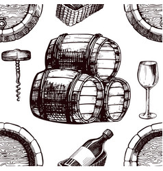 wine pattern sketch background seamless vector image