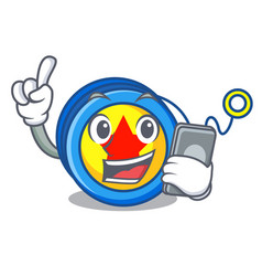 With phone yoyo character cartoon style vector