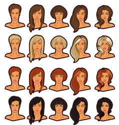 Women portraits icons set vector image