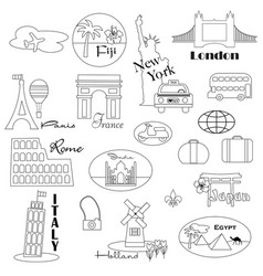 world travel digital stamps vector image