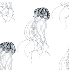 Zentangle stylized Jellyfish seamless pattern Hand vector image