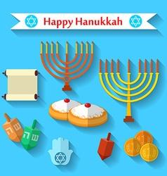 Happy Hanukkah flat icons set with dreidel game vector image
