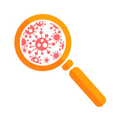 icon magnifier with bacteria vector image