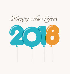 new-year-2018-blue-orange-balloons vector image