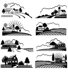 retro rural landscapes with farm building in field vector image
