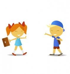 school children with bags vector image vector image