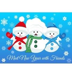Snowmen friends greet new year vector image