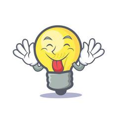 Tongue out light bulb character cartoon vector