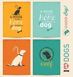 Dog typographic background set vector