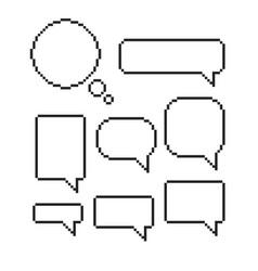 pixel speech bubble set mosaic dialog boxes vector image