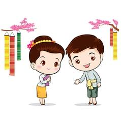 Thai traditional welcome sawasdee vector image vector image