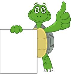 Turtle cartoon with blank sign vector image