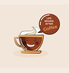 coffee emoji cup with funny quote vector image