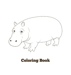Coloring book hippopotamus african savannah animal vector