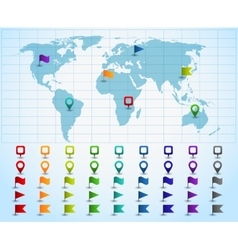 Map pointers on world map vector image
