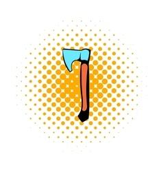Wooden axe icon comics style vector image
