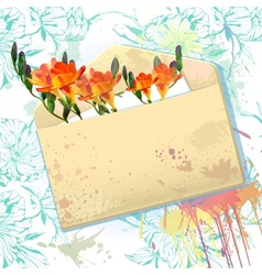 card with grunge envelope and orange freesia vector image