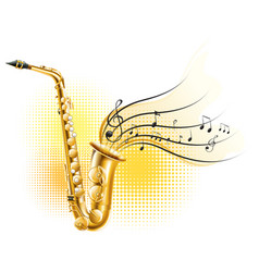 classic saxophone with music notes vector image vector image
