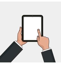Digital tablet in businessman hands Hands using vector image