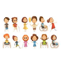 disabled kids set vector image vector image