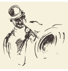 Jazz poster Man playing saxophone drawn sketch vector image vector image