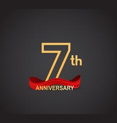 7 anniversary logotype design with line golden vector