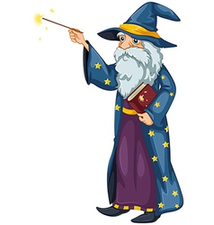 A wizard holding a magic wand and a book vector