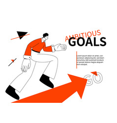 Ambitious goals - modern colorful line design vector