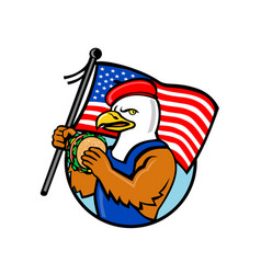 american eagle holding burger and usa flag mascot vector image