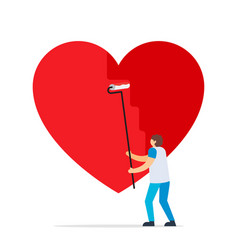 artist that paint huge hearts valentine card vector image