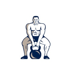 Athlete Weightlifter Lifting Kettlebell Retro vector image