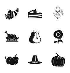 Autumn festival icons set simple style vector