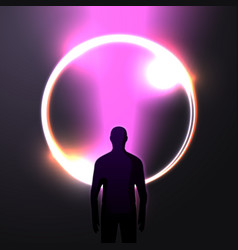 banner in futurism style man and light beam vector image
