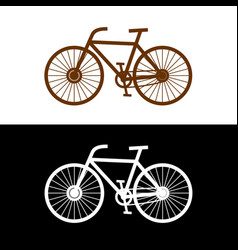 bicycle silhouette with pedals chain and spokes vector image