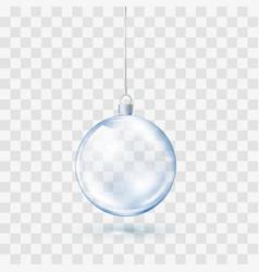 blue glass transparent christmas ball xmas glass vector image