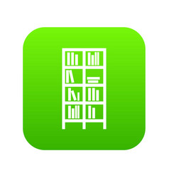 bookcase icon digital green vector image