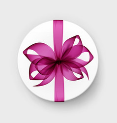 box with pink bow and ribbon top view close up vector image