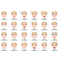 businessman various facial expressions set vector image
