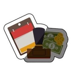 Calendar money and rubber stamp design vector image