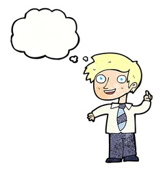 Cartoon school boy with idea with thought bubble vector