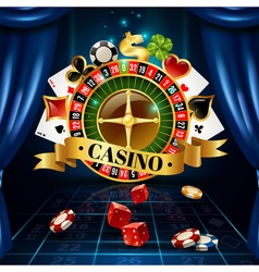 Casino Night Games Symbols Composition Poster vector